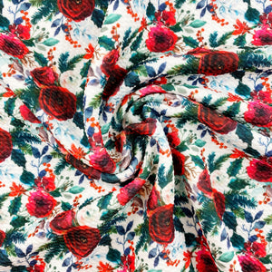Burgundy & Evergreens Floral Bullet Fabric
