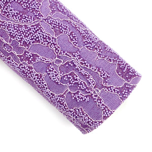 Purple Lace Overlay Pearled Chunky Glitter
