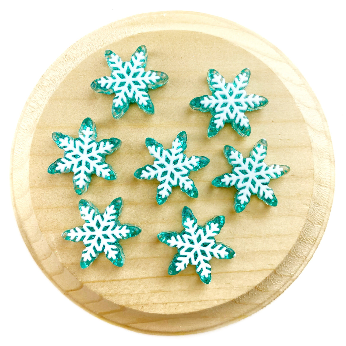 Teal Snowflake Resin Pieces
