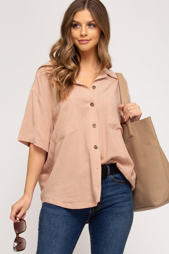 Just Peachy Button Up Shirt