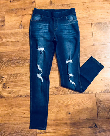 """Distressed"" Denim Jeggings"