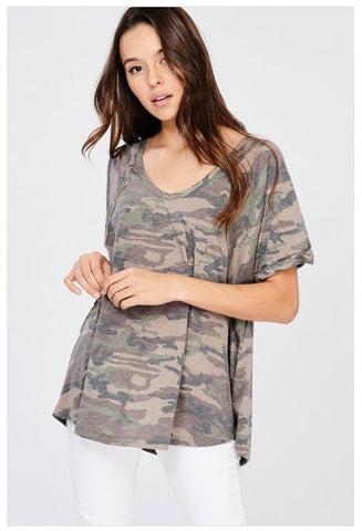 """Army Brat"" Camo Loose Fit Tee"