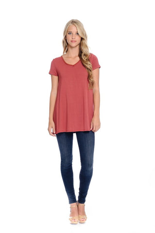 """Marsala"" V-Neck Top"