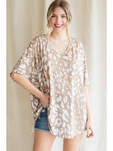Leopard Oversized Pocket Tee - Taupe