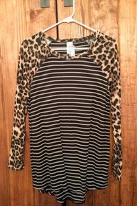 Leopard And Stripes Top