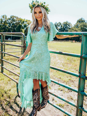 Southern Sweetheart High Low Dress - Mint