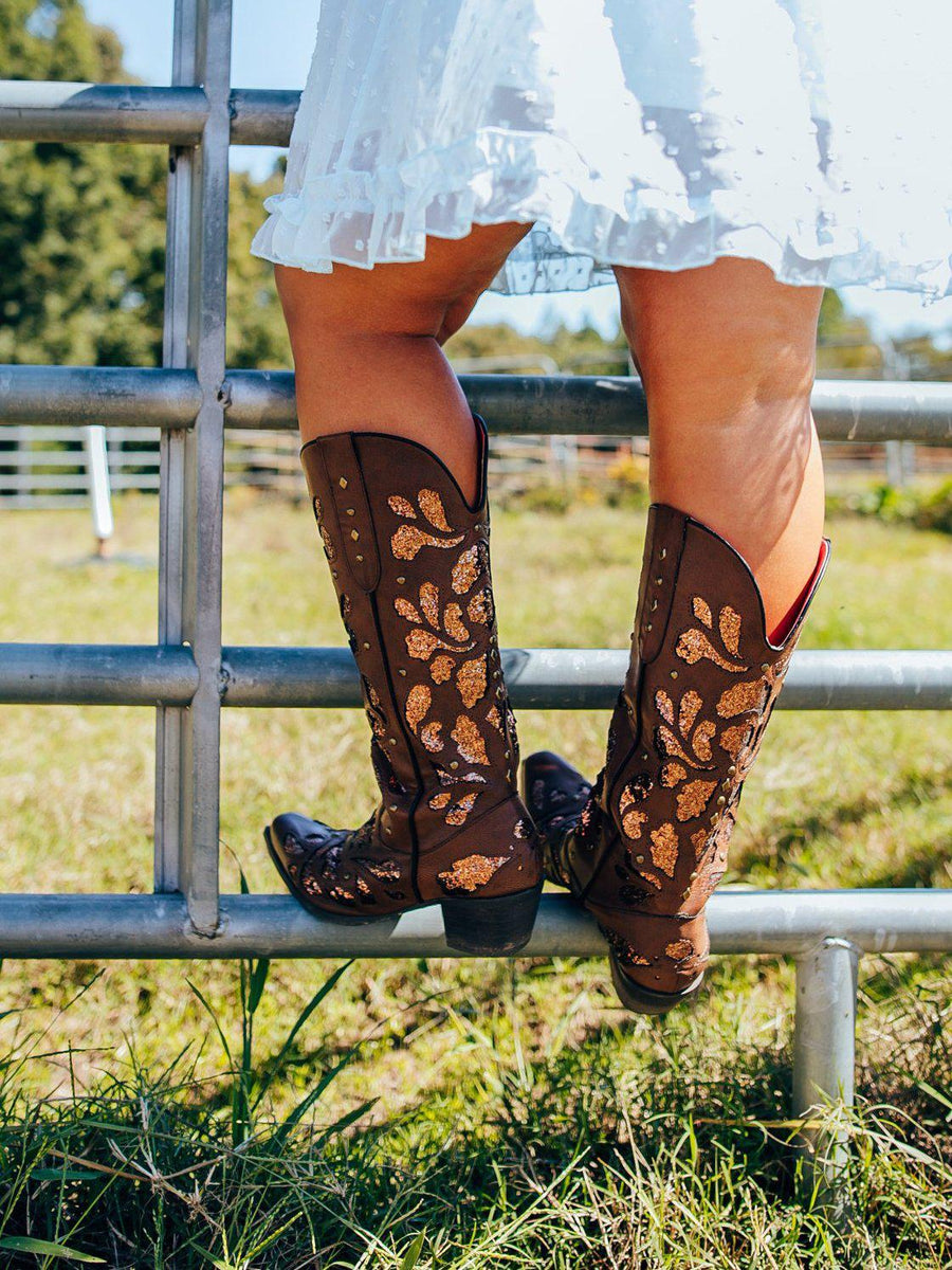 Western cowboy boot with floral glitter inlay
