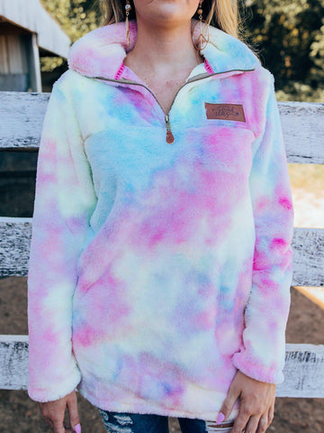 Cotton Candy Tie Dye Sherpa