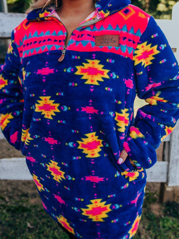 Neon Nights Aztec Sherpa - Royal-Sherpas-Southern Fried Chics