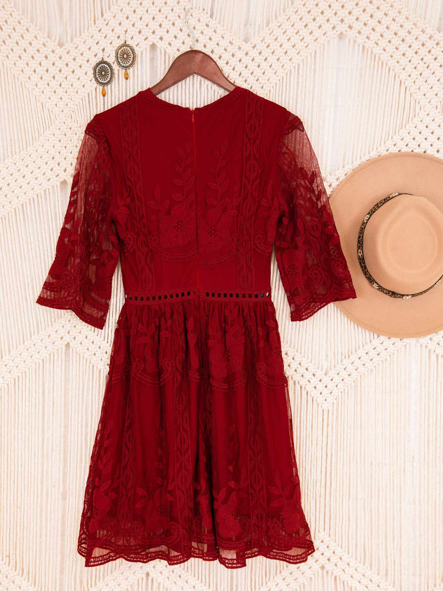 The Lettie Dress - Deep Red