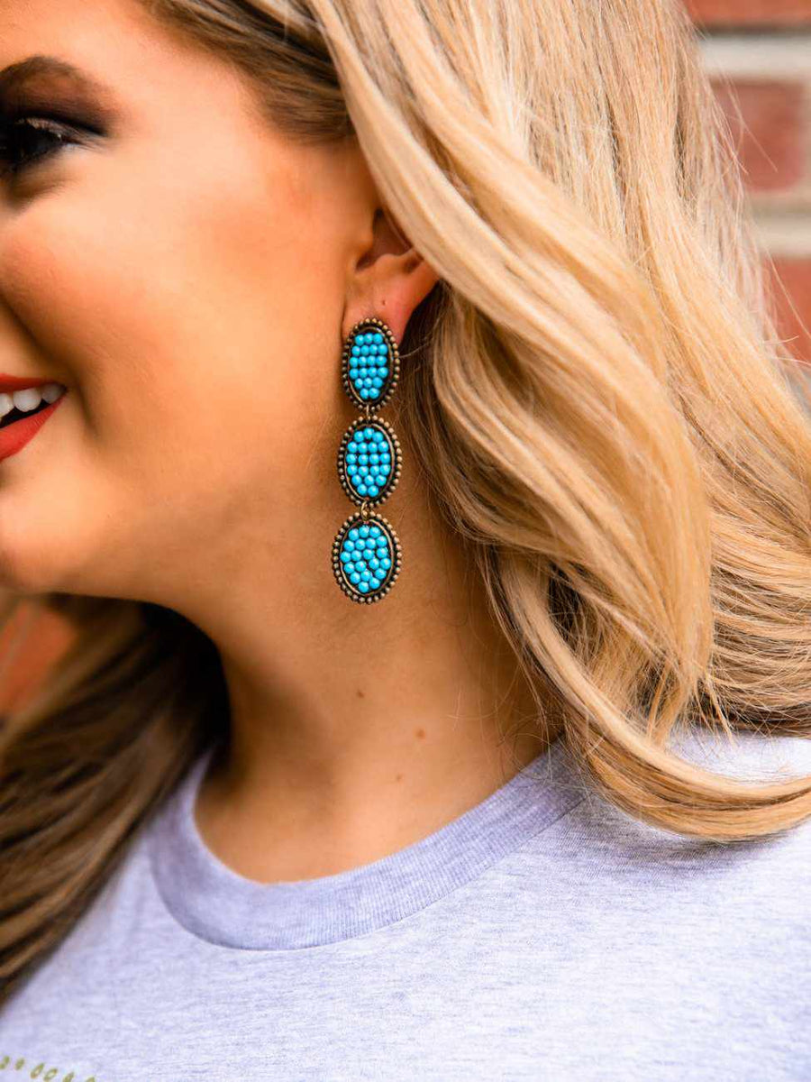 Reminiscent Tri Round Dangle Earring - Turquoise Stone-Earrings-Southern Fried Chics