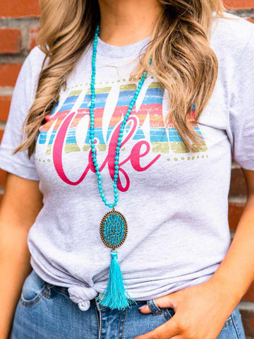 Diamond Tassel Long Necklace - Turquoise-Necklaces-Southern Fried Chics