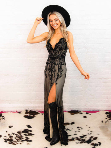 Black Maxi Dress with Lace-Dresses-Southern Fried Chics