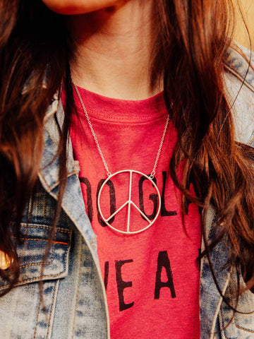 Peace of Mind Peace Sign Necklace - Silver