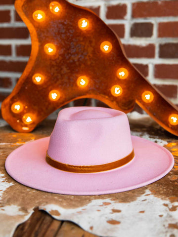 Nashville Wide Brim Hat - Pink-Hats-Southern Fried Chics