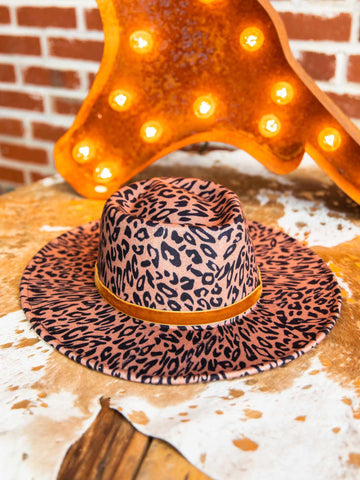 Nashville Wide Brim Hat - Leopard Tan