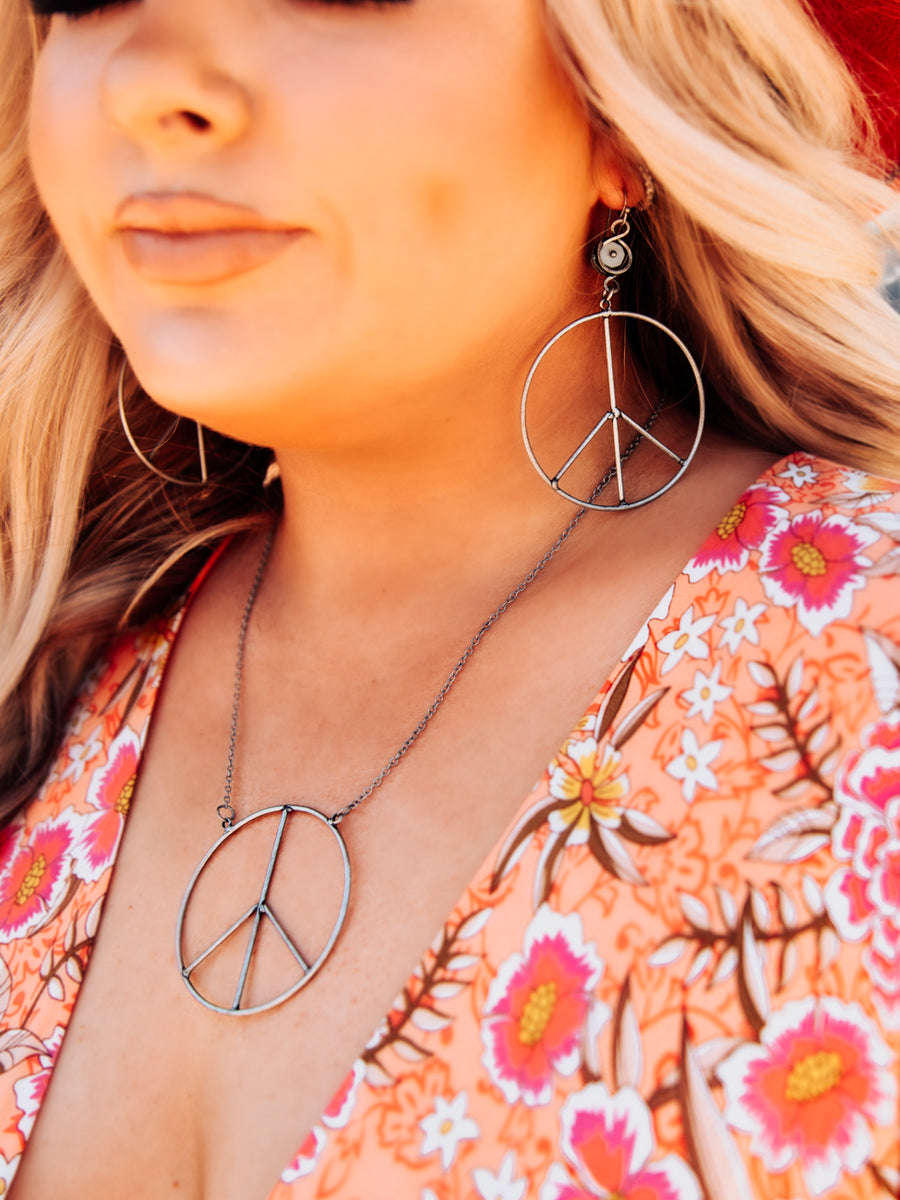 Peace of Mind Peace Sign Necklace - Gun Metal-Necklaces-Southern Fried Chics