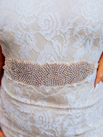 Rhinestone Crowning Moment Belt x3 - Pure Ribbon With Gold