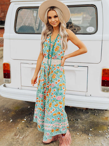 This Is Paradise Jumpsuit - Turquoise-Jumpsuites and Rompers-Southern Fried Chics