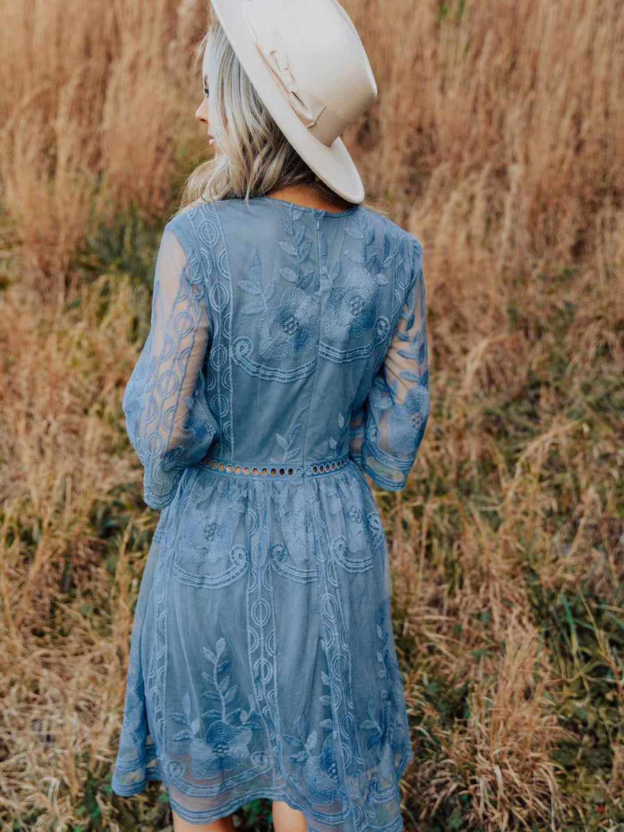 The Lettie Dress - Slate Blue