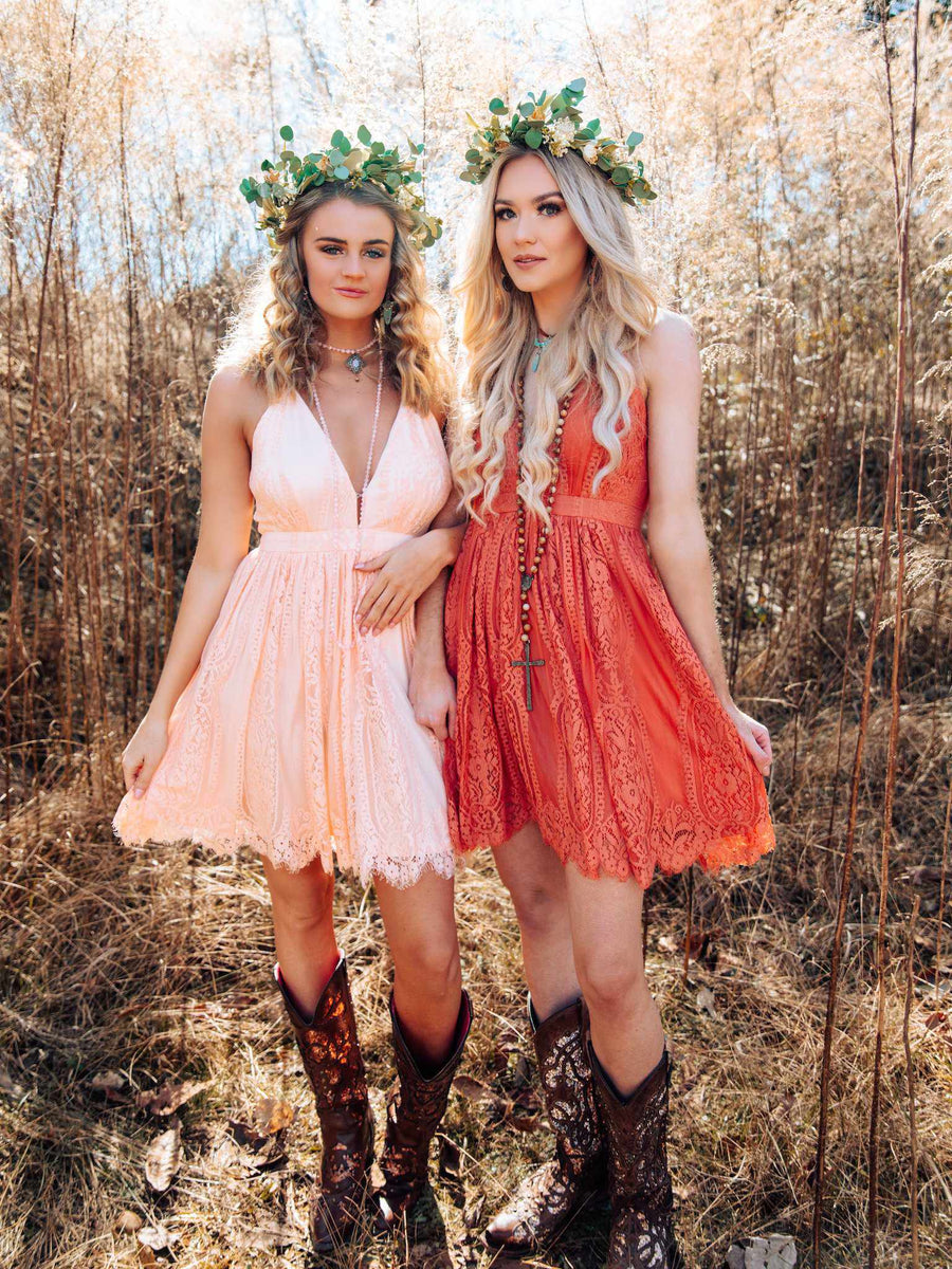 Wide Open Hearts Dress - Rust
