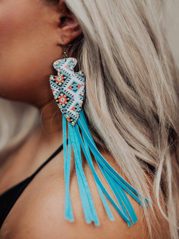 Wind Talker Lucky T Earrings in Turquoise