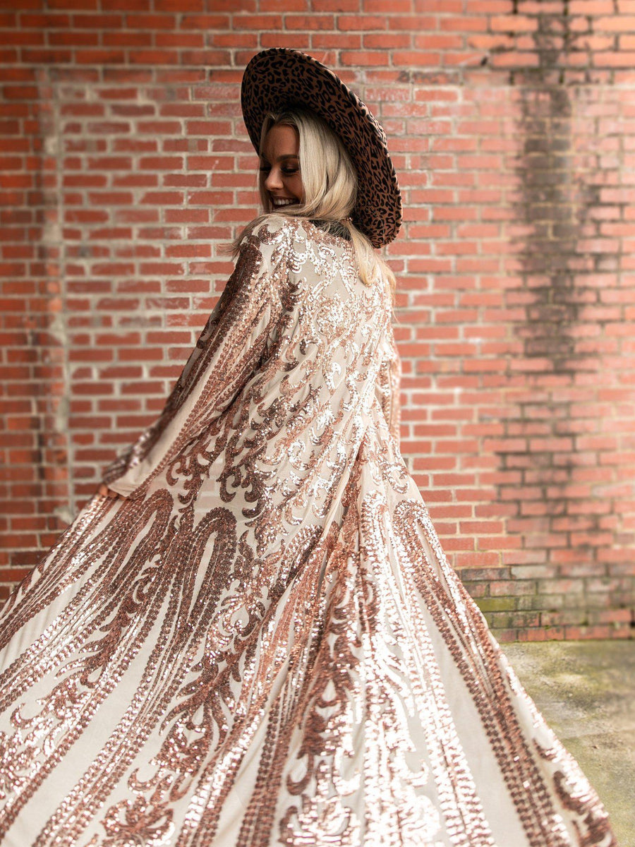 The Royal Sequin Duster - Rose Gold-Southern Fried Chics