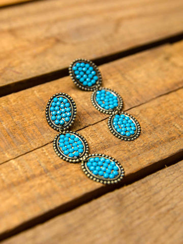 Reminiscent Tri Round Dangle Earring - Turquoise Stone