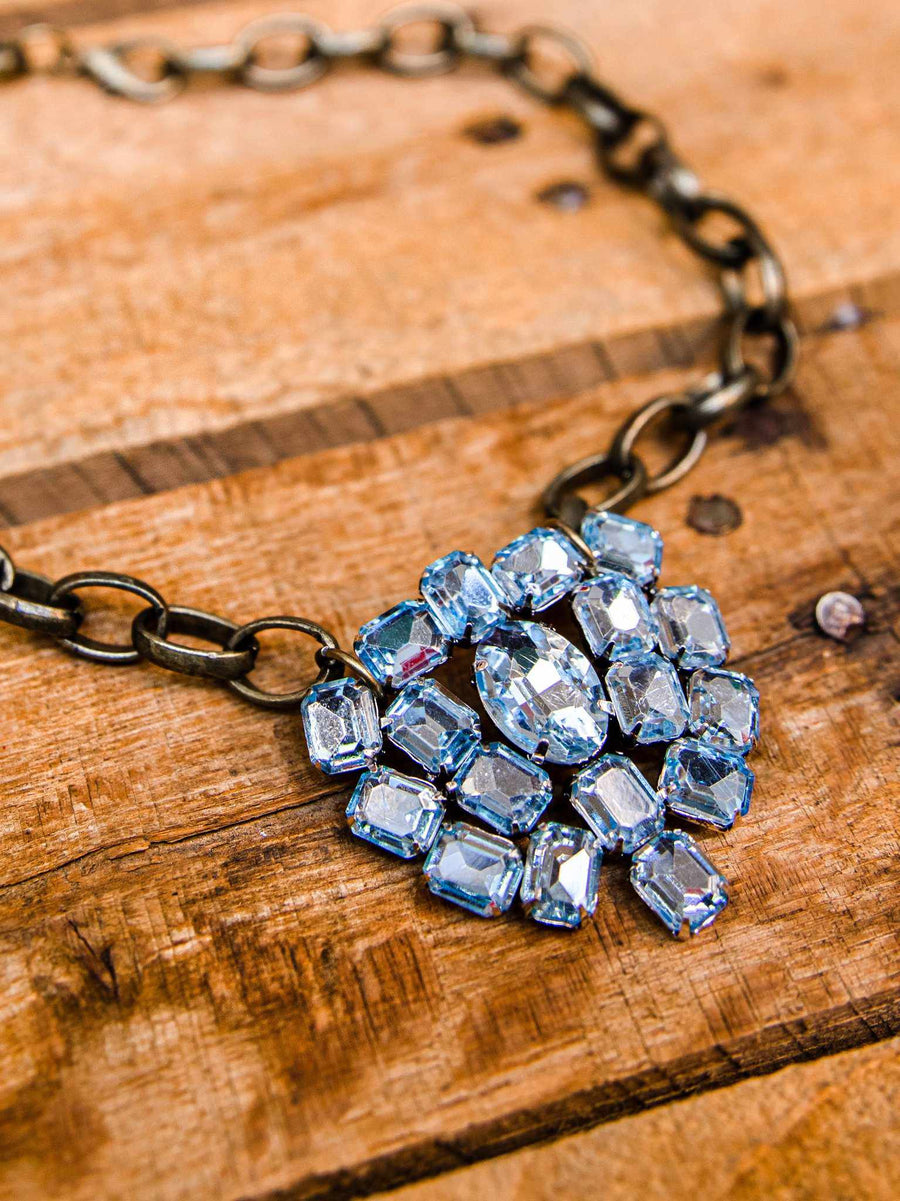Looking Glass Crystal Blue Choker-Necklaces-Southern Fried Chics