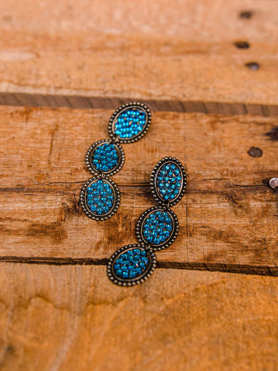 Reminiscent Tri Round Dangle Earring - Turquoise Bling
