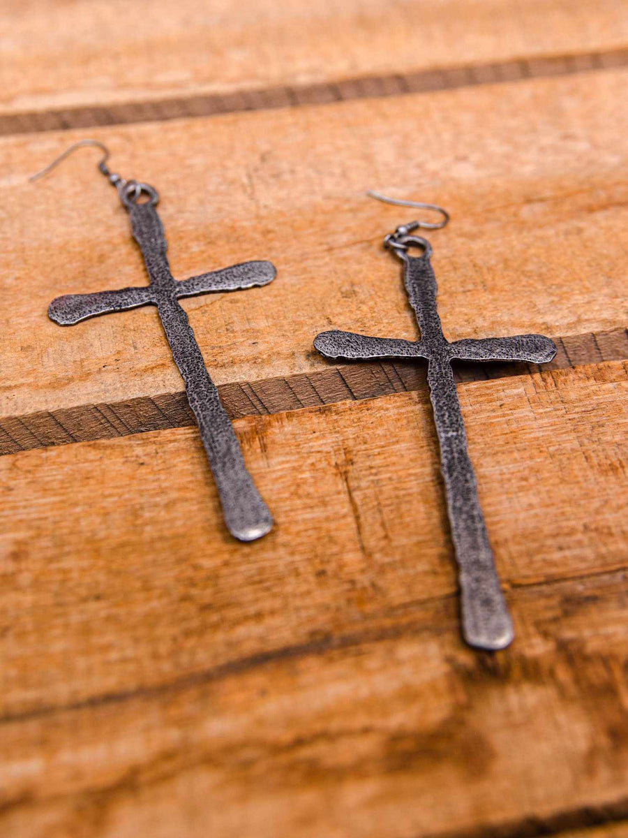 Southern Cross Earrings - Antique Silver-Earrings-Southern Fried Chics