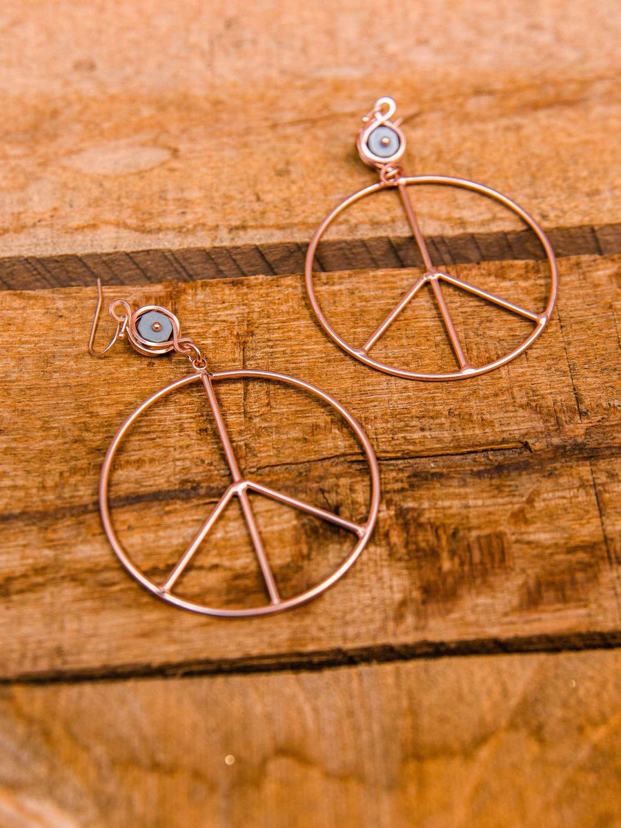 Peace of Mind Peace Sign Earring - Rose Gold