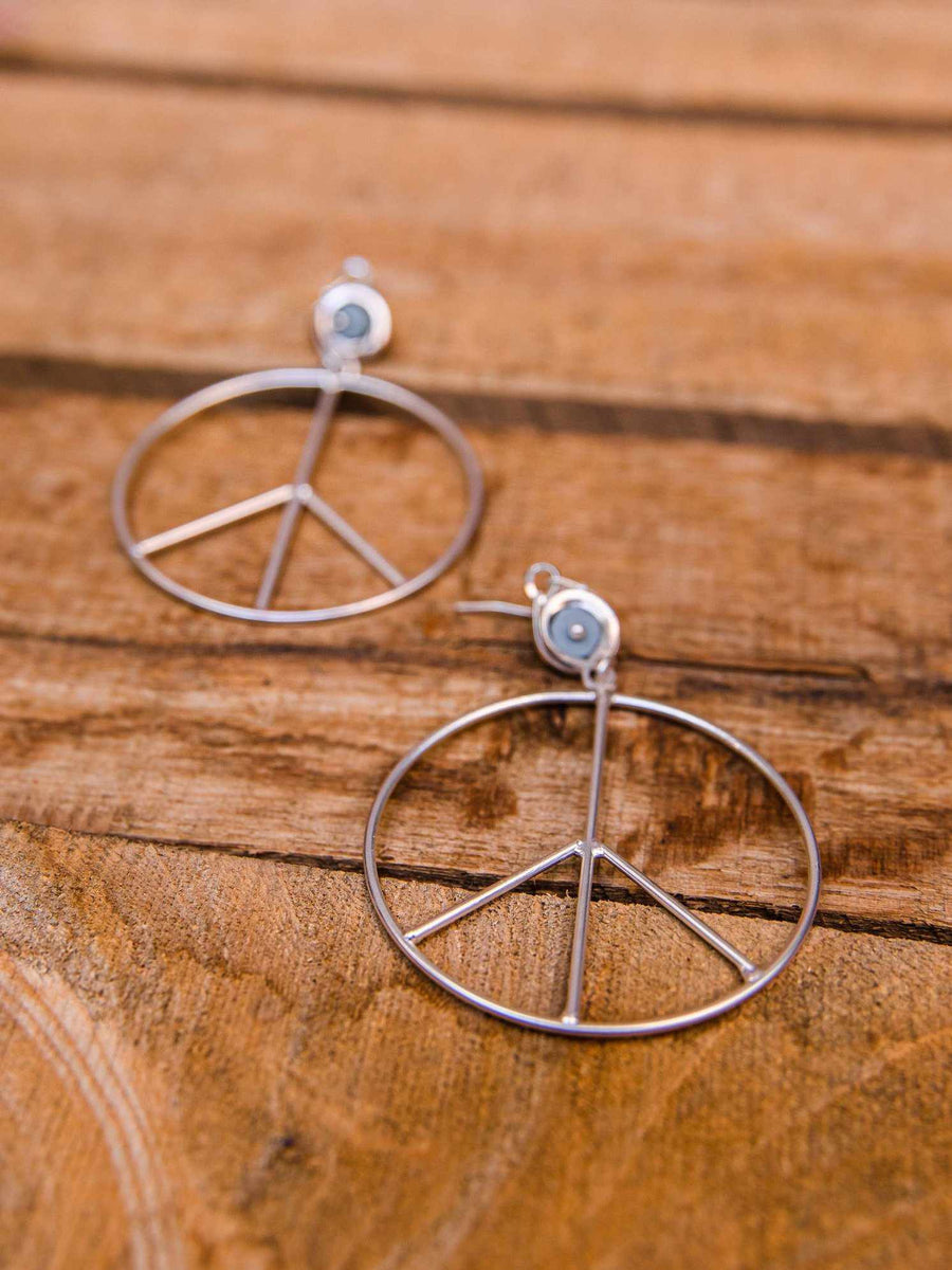 Peace of Mind Peace Sign Earring - Silver-Earrings-Southern Fried Chics
