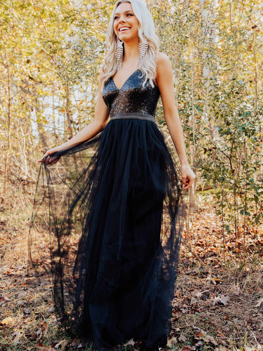 Sparkle In Sequins Tulle Dress - Black