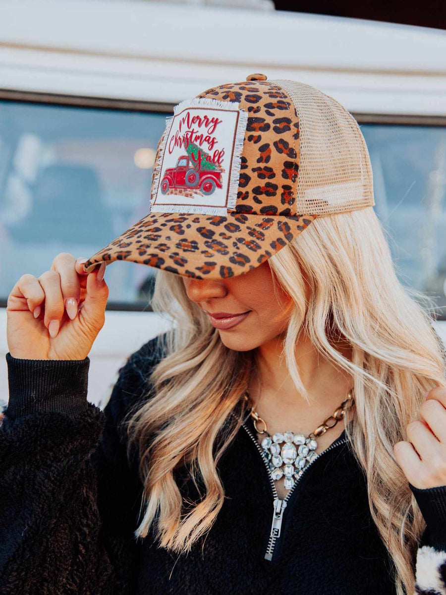Truckin' Into Christmas Leopard Trucker Hat-Hats-Southern Fried Chics