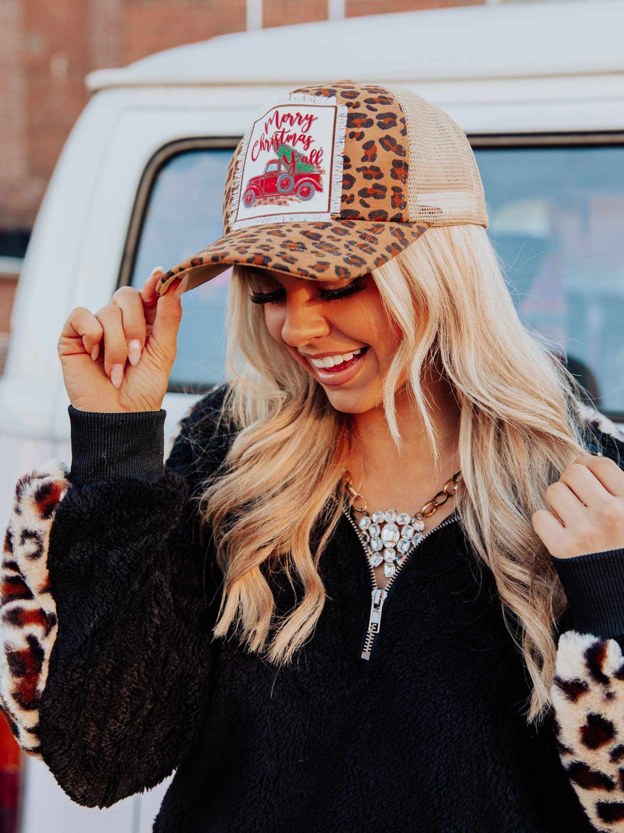 Truckin' Into Christmas Leopard Trucker Hat