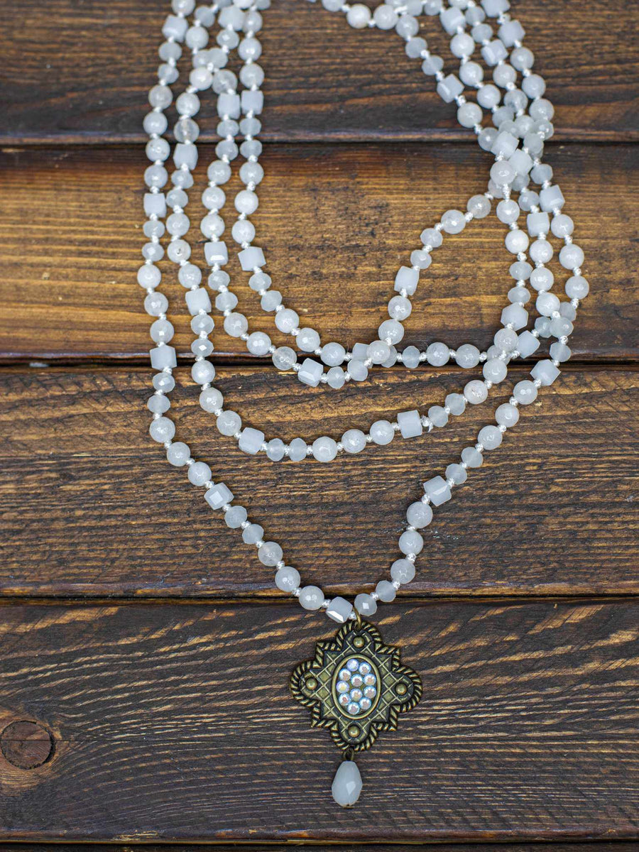 Arabesque Long Beaded Necklace - Pearl