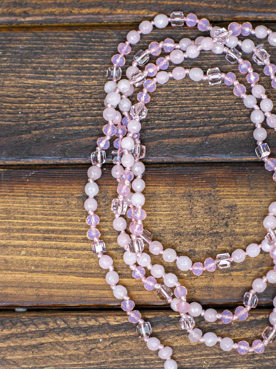 Arabesque Long Beaded Necklace - Pink