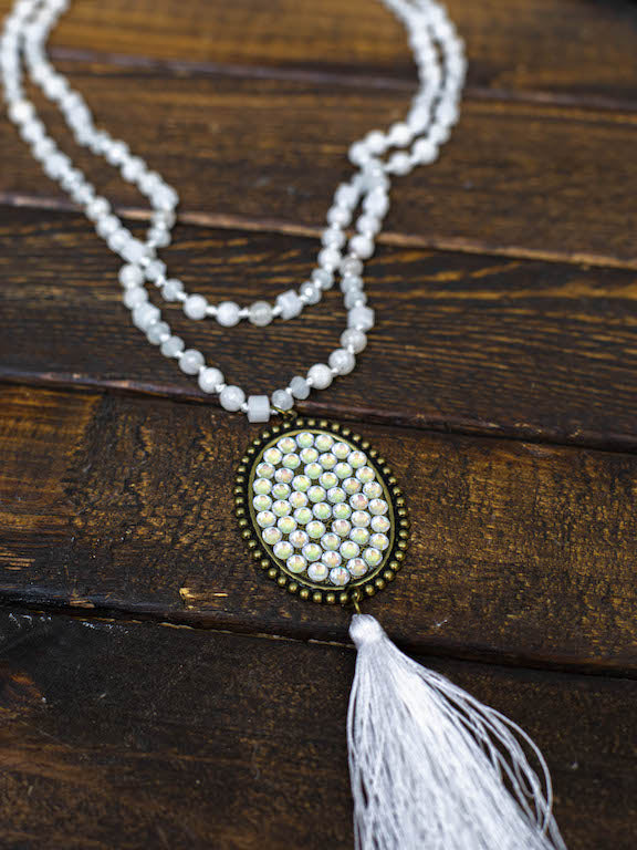 Diamond Tassel Long Necklace - Pearl