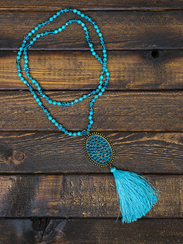 Diamond Tassel Long Necklace - Turquoise