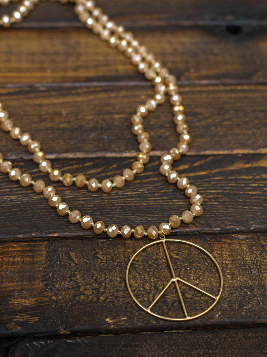 Peace of Mind Peace Sign Long Beaded Necklace - Beige