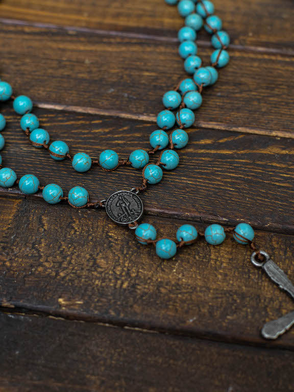 Southern Cross Stone Necklace - Turquoise with Antique Bronze