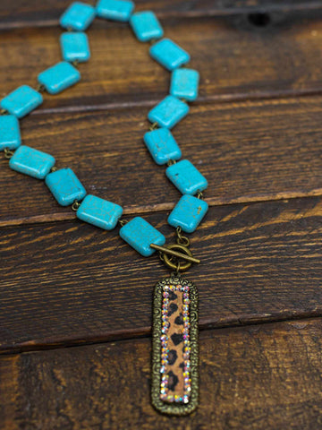 Leopard Print Turquoise Stone Choker