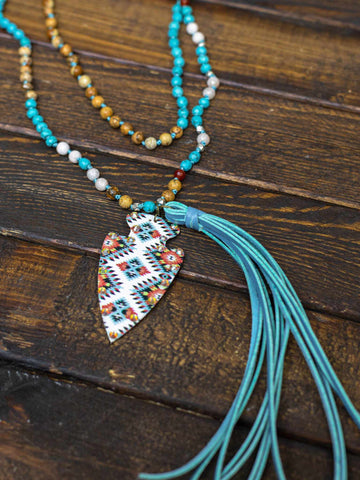 Wind Talker Long Turquoise Necklace