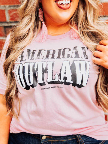American Outlaw Tee - Pale Pink