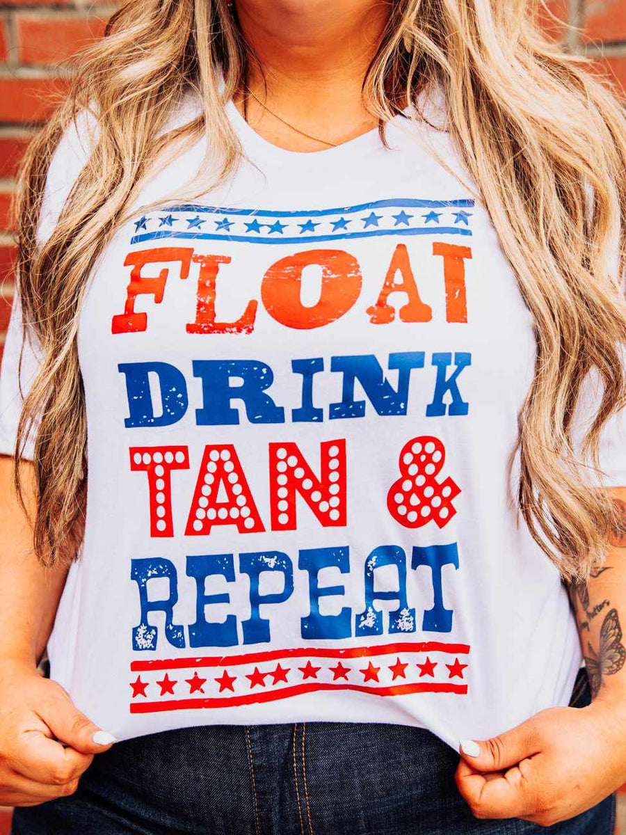 Float Drink Tan Repeat Tee - White