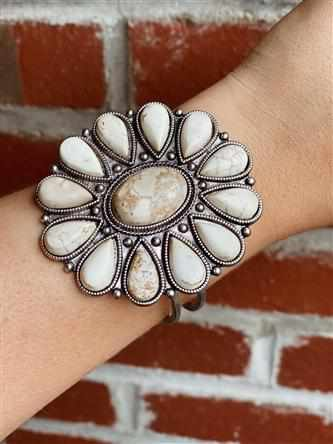 Natural White Turquoise Silver Cuff Bracelet - White-Southern Fried Chics