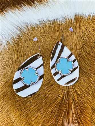 Zebra Crystal Turquoise Cross Earrings