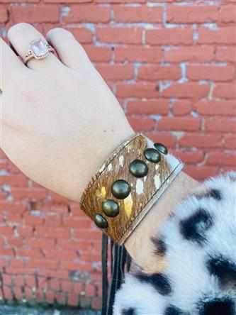 SFC Cowhide & Fringe Leather Bracelet-Southern Fried Chics