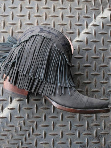 Spitfire Fringe Booties Black By Lane